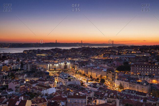 December 6, 2013: High angle view of buildings at dusk in Lisbon- Portugal