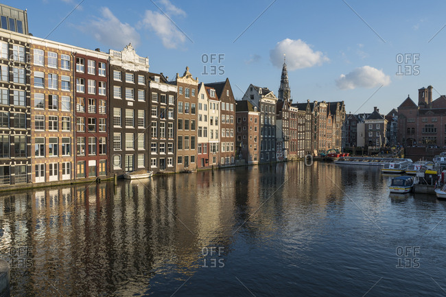 May 20, 2017: Netherlands- Amsterdam- Row of waterfront houses