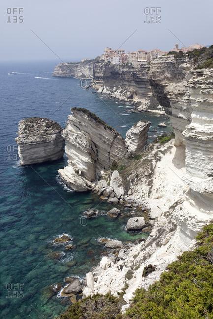 White Limestone Cliffs against clear sky at Bonifacio- Corsica- France