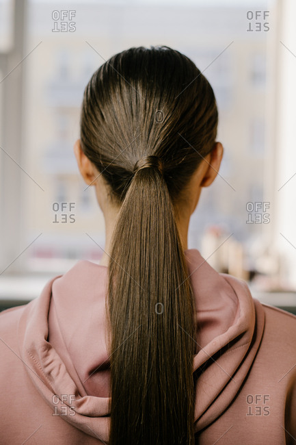 Back view of woman's brown hair tied in a ponytail