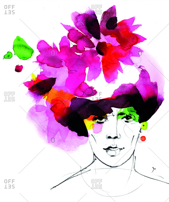 Watercolor portrait of a woman wearing a large colorful hat