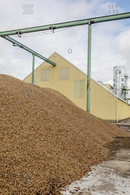 Mounds of almond shells to be recycled and reused in an almond factory
