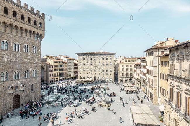 Florence, Italy - April 17, 2019: Piazza della Signoria in Florence, Italy