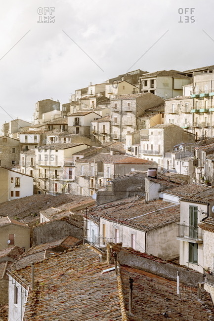 View of hillside homes in Gangi, Sicily, Italy