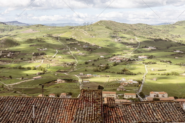 Green rolling hills viewed from top of village, Gangi, Sicily, Italy