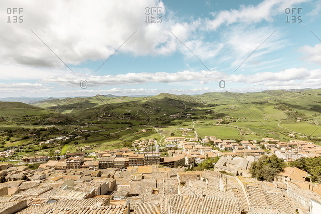 View over the village of Gangi, Sicily, Italy and green farmland in the distance