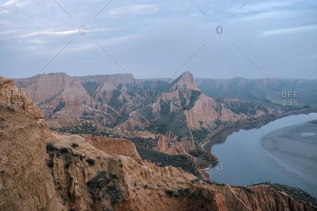 Landscape of Barrancas de Burujon Hills in Toledo, Spain