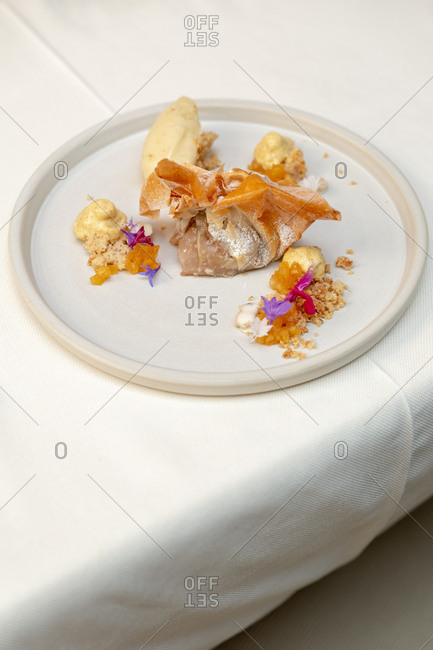 Gourmet dish in a restaurant in South Tyrol, Italy