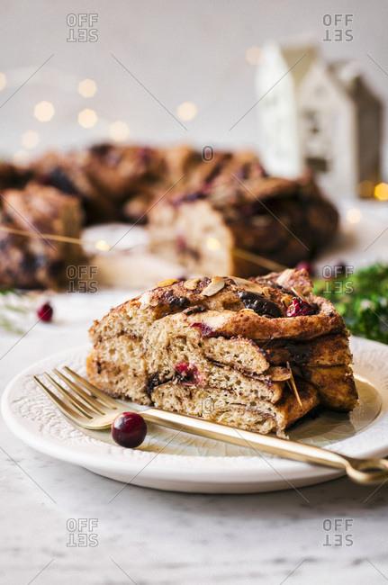 Chocolate Cranberry Almond Wreath Bread