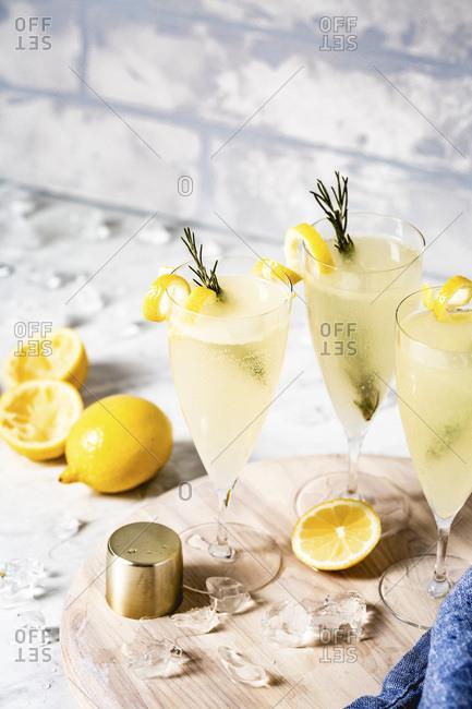 Lemon cocktail in glasses