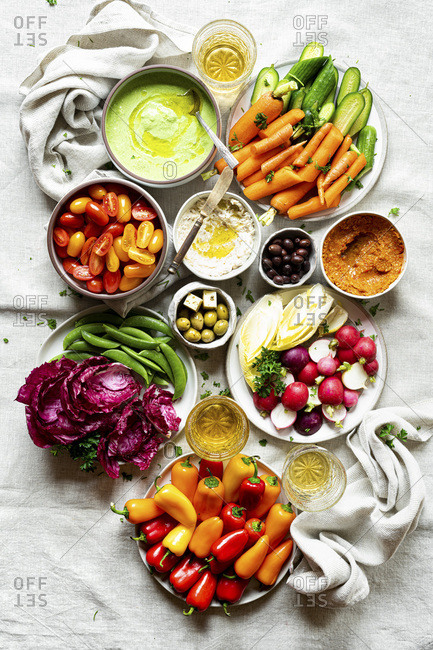 Assorted Raw Vegetable Appetizer Platter with three dips