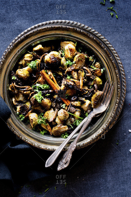 Grilled Brussels Sprouts with Chanterelles