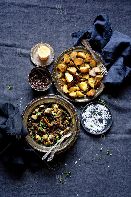 Dinner Sides - Grilled Brussels Sprouts with Chanterelles and Roasted Potatoes with Parsley & Salt.