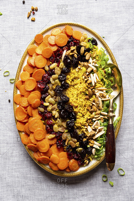 Buttery Bejeweled Rice with nuts and dry fruits.