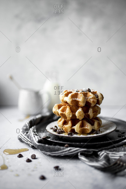 Breakfast Sugar Waffles With Chocolate Chips and Honey Drizzle0