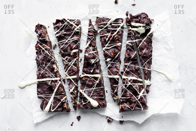 Dark Chocolate Rocky Road With Marshmallow And Biscuit Drizzled In White Chocolate