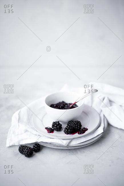 Blackberry Jam On A Simple White Backdrop