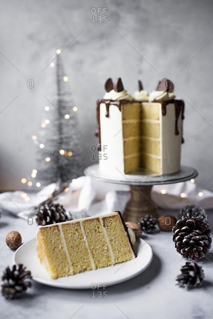 Christmas Chocolate Orange Layer Cake With Orange Buttercream And Dark Chocolate Ganache