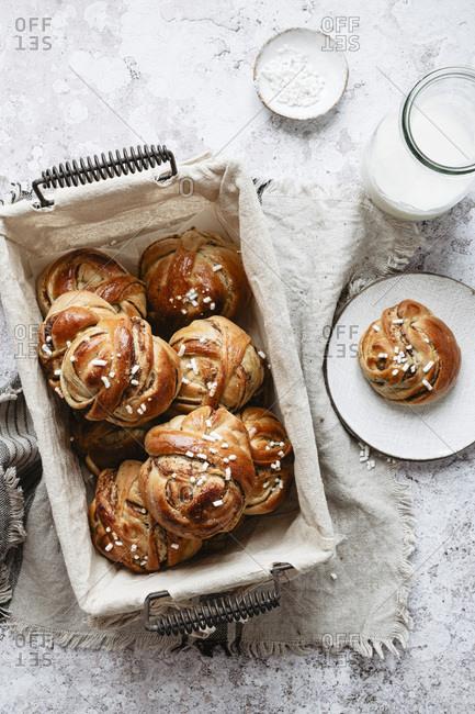 Swedish breakfast set with a bunch of cardamom cinnamon buns