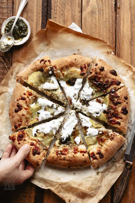 Sliced homemade pizza