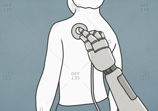 Robot with stethoscope examining back of man