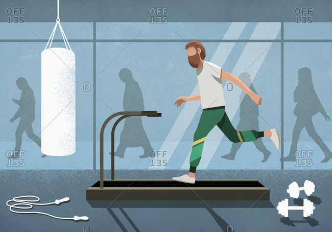 Business people walking behind man running on treadmill