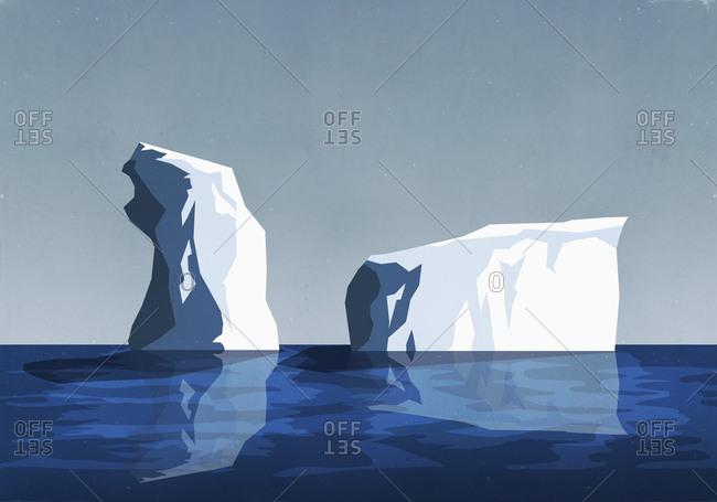 Icebergs in sea
