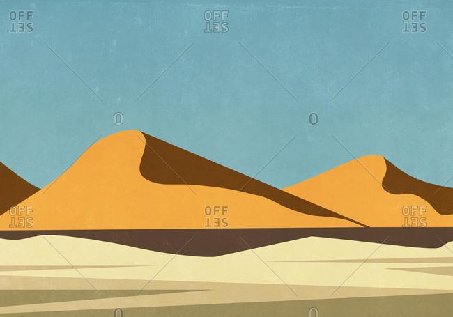 Sunny landscape view remote desert