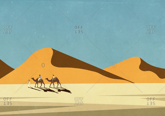 Tourists riding camels in sunny, remote desert landscape