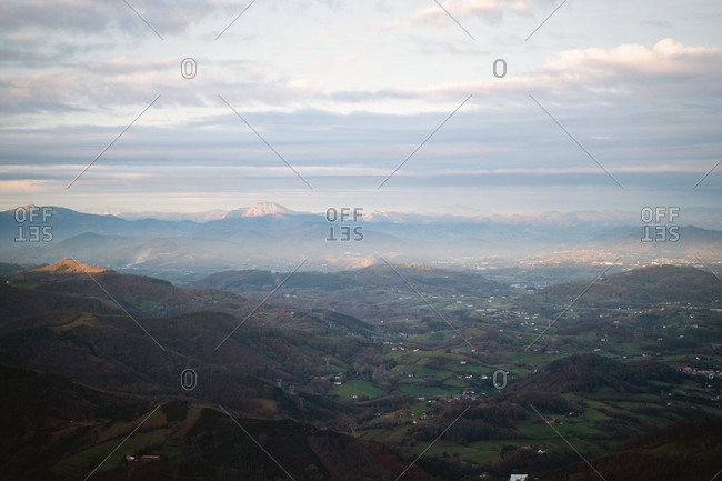 View of Basque Country from the air on a hazy morning