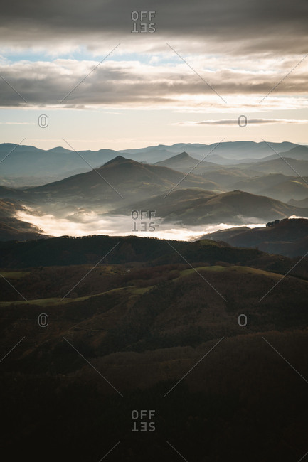 Cloud inversion on a cloudy morning in the Basque Country