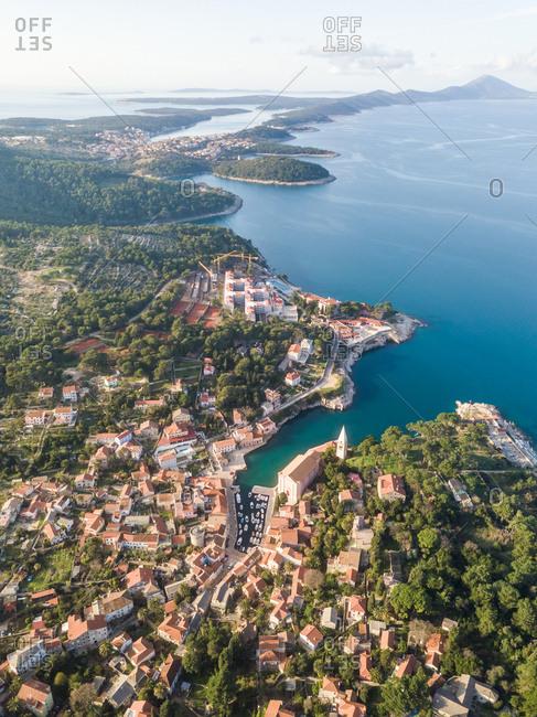 Aerial view above of Veli Losinj coastal cityscape, Croatia.