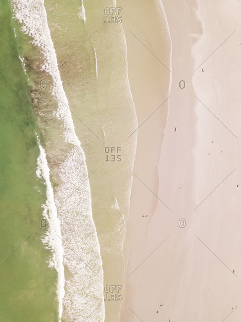 Aerial view of empty Milnerton beach near Cape Town, South Africa.