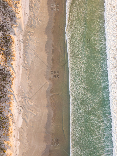 Abstract aerial view of Milnerton beach near Cape Town, South Africa.