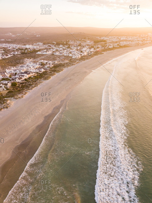 Aerial view of sunset over beach near Cape Town, South Africa.