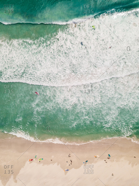 Aerial view of windsurfers getting ready at Scarborough Beach, South Africa.