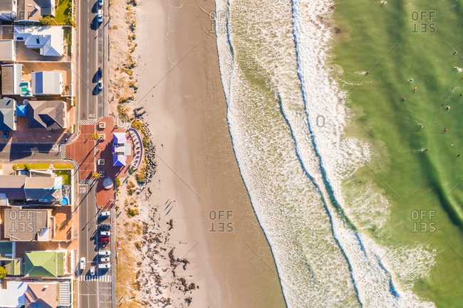 Aerial view of Melkbosstrand beach during sunset, South Africa.