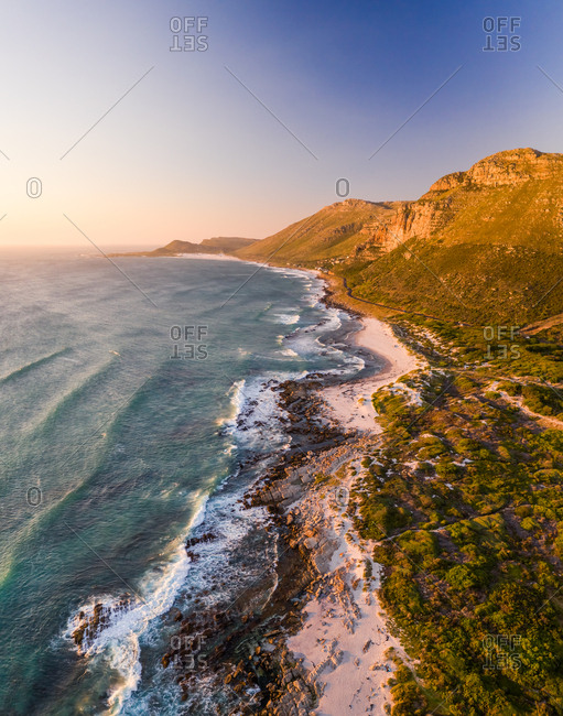 Aerial view of Scarborough Beach during sunset, South Africa.
