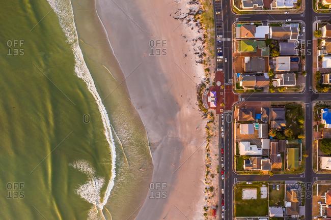 Aerial view of cozy coastal neighborhood, Melkbosstrand, South Africa.