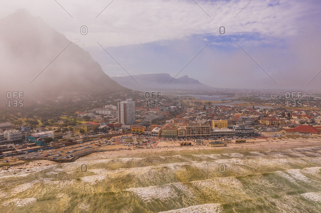 February 2, 2019: Aerial view of Muizenberg Beach at Cape Town during foggy day, South Africa.