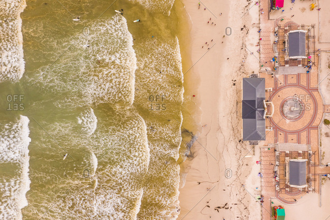 Aerial view of Muizenberg Beach at Cape Town, South Africa.
