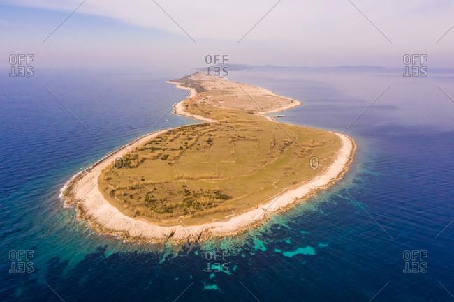 Aerial view of isolated city at Otok Vele Srakane island, Croatia.