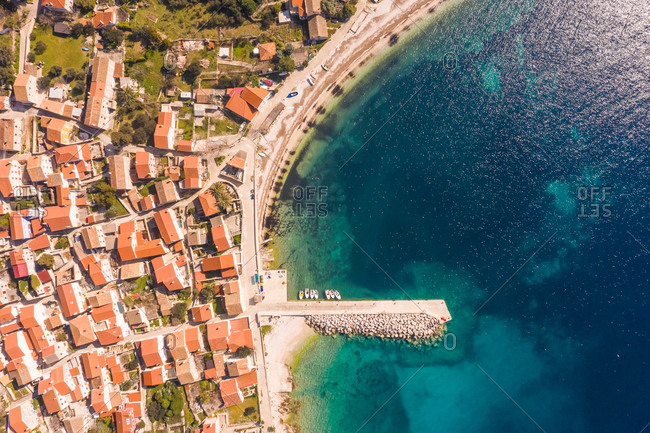 Aerial view above of Unije coastal city during the summer, Croatia.