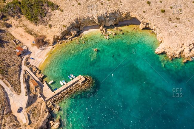 Aerial view of Koromacna public beach at Cres island, Croatia.