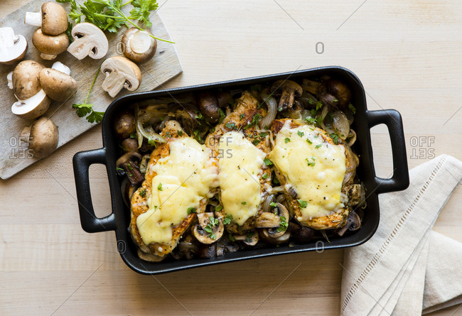 Freshly baked chicken casserole with mushrooms