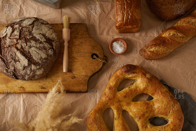Flat lay with various types of bread and bakery
