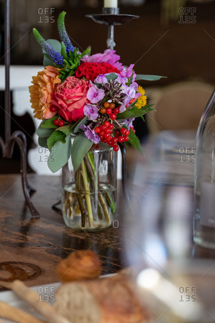 Colorful floral arrangement on a wooden table