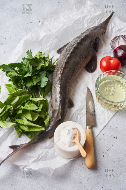 Close up of a raw sturgeon fish and fresh ingredients on light surface