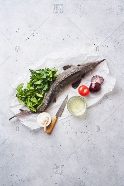 Top view of a raw sturgeon fish and fresh ingredients on light surface