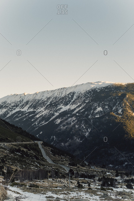 Snow-capped mountain landscape at dawn